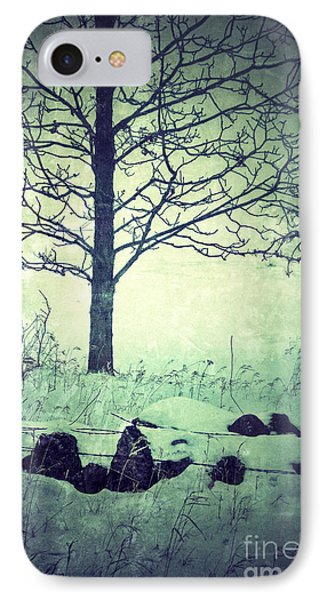 Tree And Fence In The Fog And Snow Phone Case by Jill Battaglia