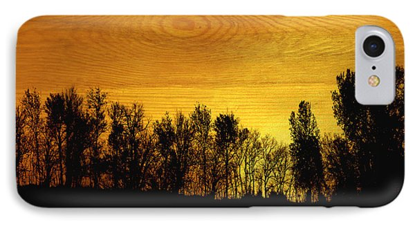 Tree Line On Wood Phone Case by Ann Powell