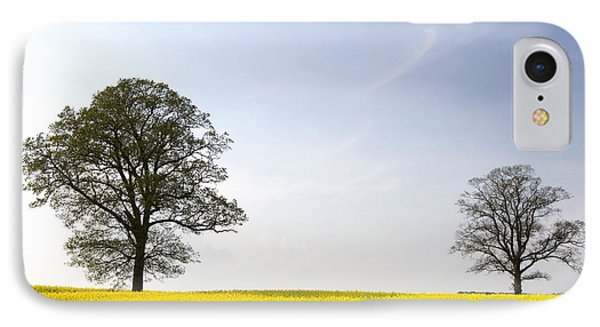 Trees In A Rapeseed Field, Yorkshire Phone Case by John Short