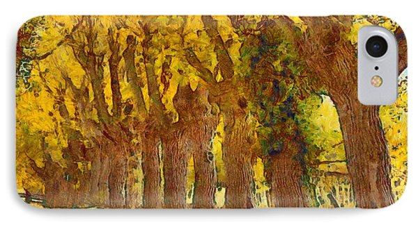 Trees In Fall - Brown And Golden Phone Case by Matthias Hauser