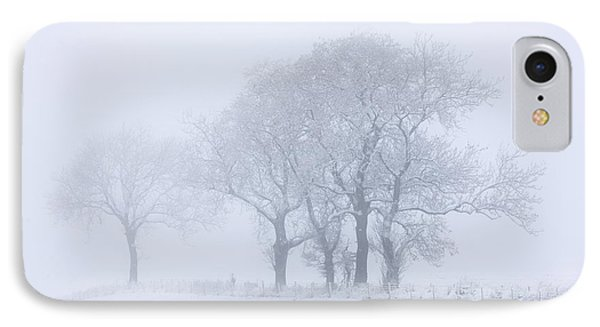Trees Seen Through Winter Whiteout Phone Case by John Short