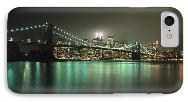 Tribute In Light, Lower Manhattan On Phone Case by Axiom Photographic