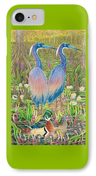 Tricolored Herons With Wood Ducks IPhone Case by Tim McCarthy