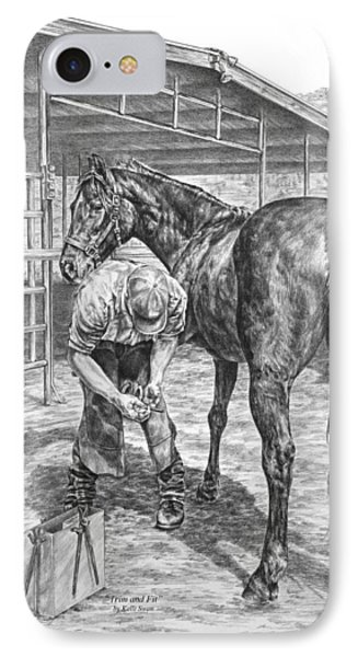 Trim And Fit - Farrier With Horse Art Print IPhone Case by Kelli Swan