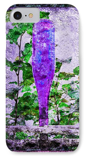 Triptych Cobalt Blue Purple And Magenta Bottles Triptych Vertical Phone Case by Andee Design