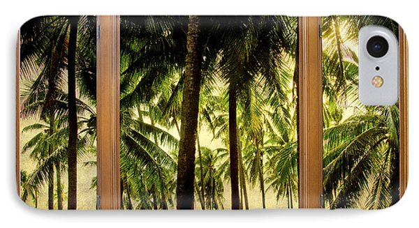 Tropical Jungle Paradise Window Scenic View Phone Case by James BO  Insogna