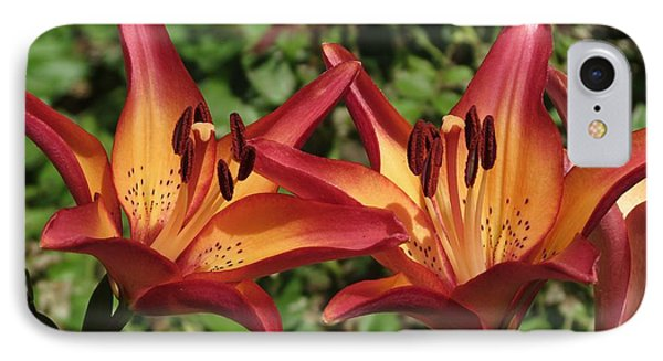 Tropical Lilies  IPhone Case by Rebecca Overton