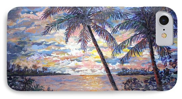 IPhone Case featuring the painting Tropical Sunset by Lou Ann Bagnall