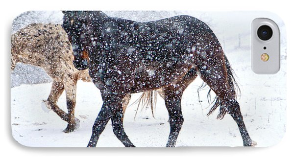 Trotting In The Snow Phone Case by Betsy Knapp