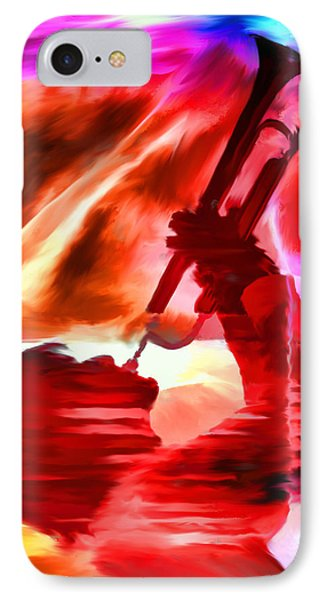 Trumpet Player Phone Case by David Ridley