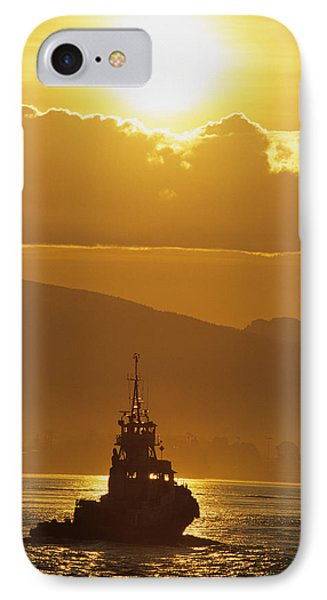 Tugboat At Sunrise, Burrard Inlet IPhone Case by Ron Watts