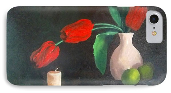 Tulips Limes And Candle IPhone Case by Becky Chappell