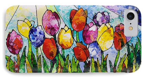 Tulips On Parade IPhone Case by Sally Trace