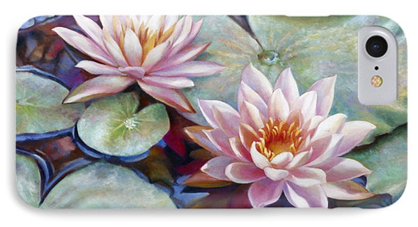 IPhone Case featuring the painting Twin Water Lilies And Reflection by Nancy Tilles