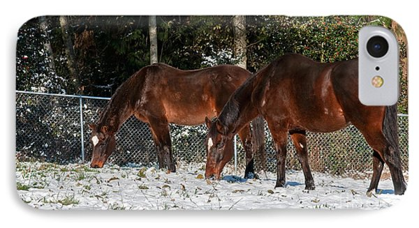 IPhone Case featuring the photograph Two Bay Thoroughbred Horses Grazing In Snow by Valerie Garner
