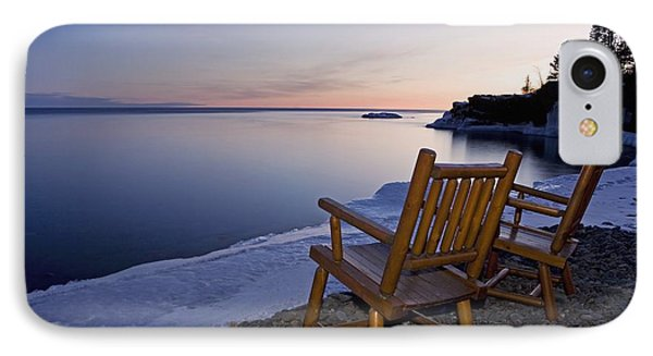 Two Chairs At Waters Edge Looking Out Phone Case by Susan Dykstra
