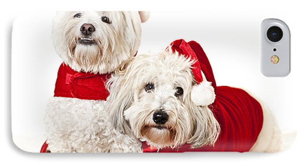 Two Cute Dogs In Santa Outfits IPhone Case