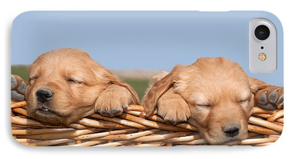 Two Cute Puppies Asleep In Basket Phone Case by Cindy Singleton