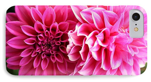 IPhone Case featuring the photograph Two Dahlias In Shades Of Pink by Laurel Talabere