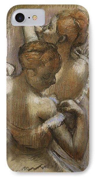 Two Dancers Adjusting Their Shoulder Straps Phone Case by Edgar Degas