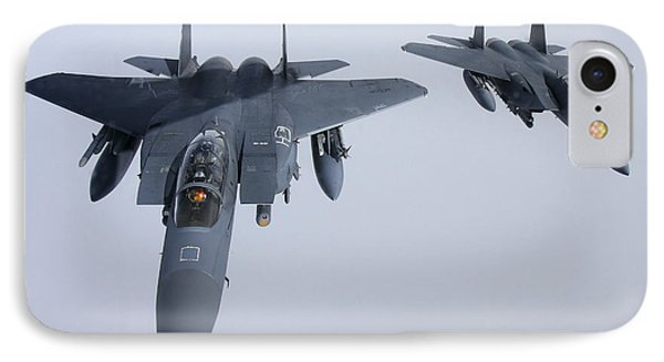 Two  F-15e Strike Eagle Of The U.s. Air IPhone Case by Daniel Karlsson
