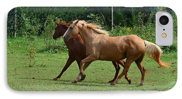 Two Horses In Unison  - 7221d Phone Case by Paul Lyndon Phillips