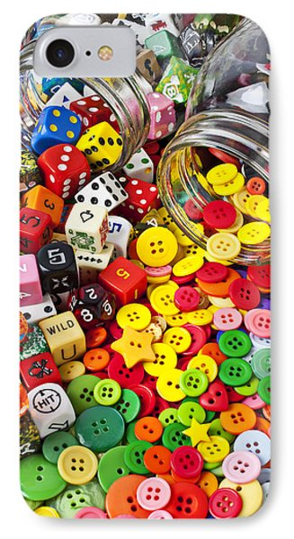 Two Jars Dice And Buttons Phone Case by Garry Gay