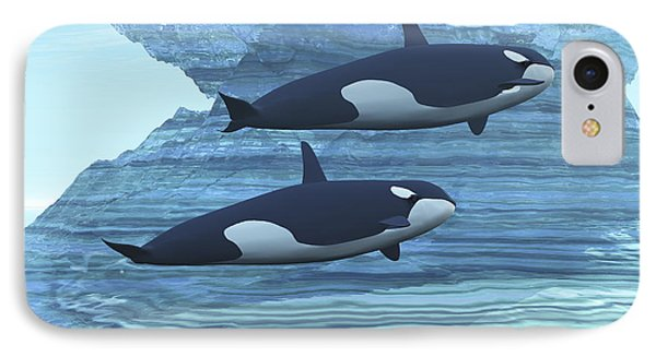 Two Killer Whales Swim Around Submerged Phone Case by Corey Ford