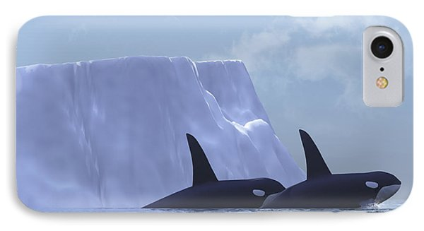 Two Killer Whales Swim Near An Iceberg Phone Case by Corey Ford