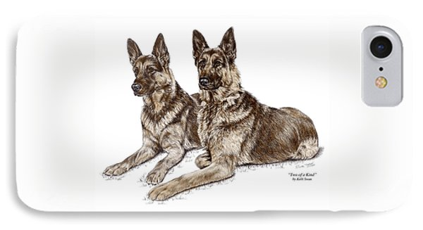 Two Of A Kind - German Shepherd Dogs Print Color Tinted IPhone Case by Kelli Swan
