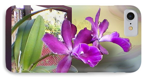 IPhone Case featuring the digital art Two Orchids by Ginny Schmidt
