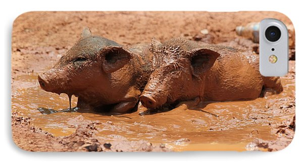 IPhone Case featuring the photograph Two Pigs In A Puddle by Nola Lee Kelsey