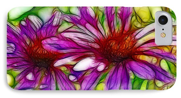 Two Purple Daisy's Fractal IPhone Case by Donna Greene