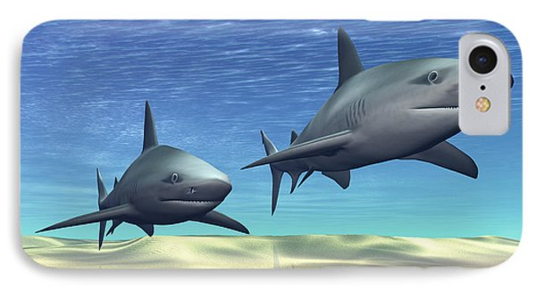 Two Sharks On Patrol Over A Sandy Reef Phone Case by Corey Ford