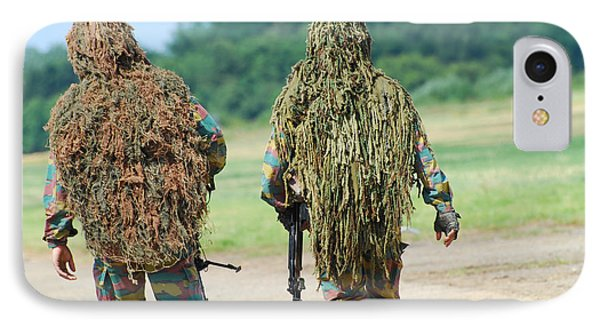 Two Snipers Of The Belgian Army Dressed Phone Case by Luc De Jaeger