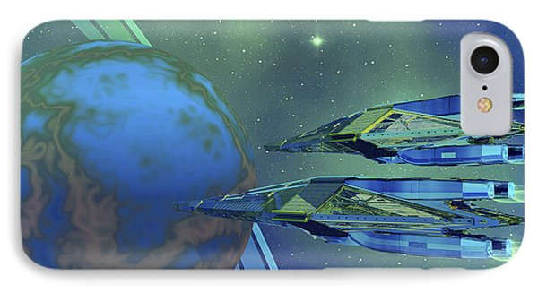 Two Spacecraft Fly To Their Home Planet Phone Case by Corey Ford