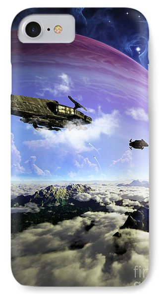 Two Spacecraft Prepare To Depart Phone Case by Brian Christensen