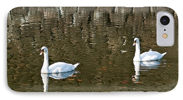 Two Swan Floating On A Pond  Phone Case by U Schade