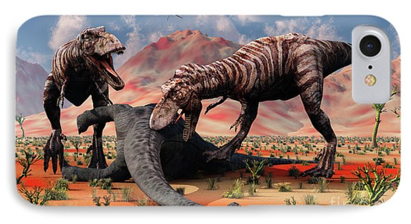 Two T. Rex Dinosaurs Feed Phone Case by Mark Stevenson