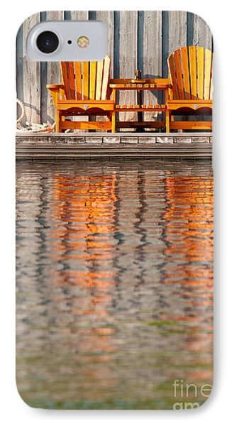 IPhone Case featuring the photograph Two Wooden Chairs by Les Palenik