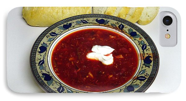 Ukrainian Borsch With Sour Cream IPhone Case by Jim Sauchyn