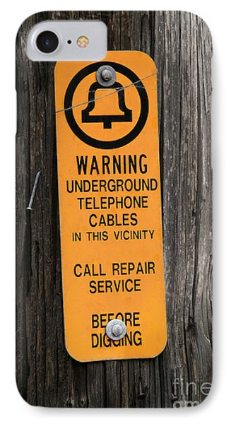 Underground Telephone Cable Sign Phone Case by Photo Researchers