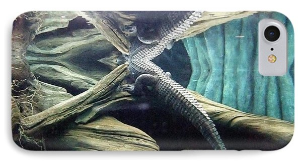 IPhone Case featuring the photograph Underwater Reflection Of An Alligator Surfacing by Jim Fitzpatrick