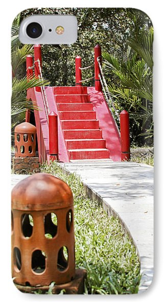 Up Garden Path Over Red Bridge Phone Case by Kantilal Patel