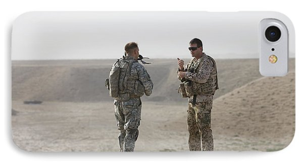 U.s. Army Soldier And German Soldier Phone Case by Terry Moore
