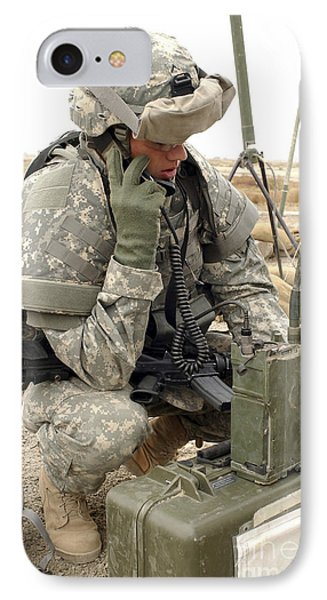 U.s. Army Soldier Performs A Radio Phone Case by Stocktrek Images