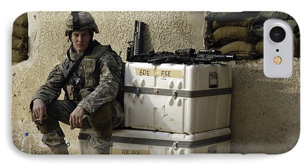 U.s. Army Soldier Relaxing Before Going Phone Case by Stocktrek Images