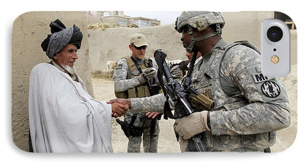 U.s. Army Soldier Shakes Hands With An Phone Case by Stocktrek Images