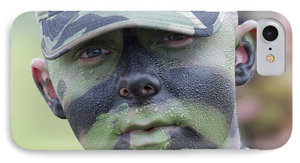 U.s. Army Soldier Wearing Camouflage Phone Case by Stocktrek Images