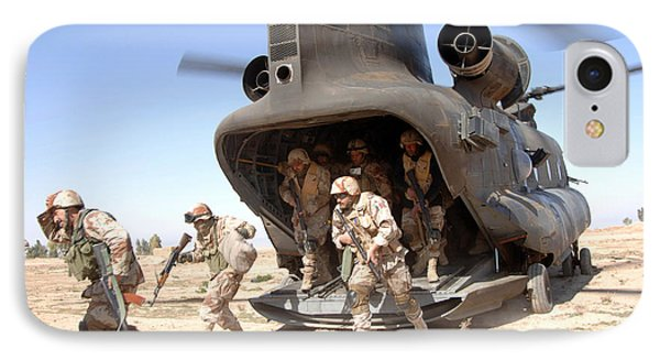 U.s. Army Soldiers Disembark A Ch-47 IPhone Case